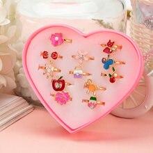 12 bonito dos desenhos animados crianças anéis coreano oceano flor ajustável criança meninas dedo anéis kawaii presentes doces moda jóias
