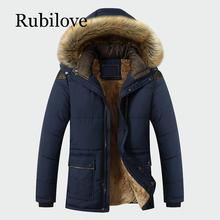 Rubilove Winter Jacket Men Brand Clothing Fashion Casual Slim Thick Warm Mens Coats Parkas With Hooded Long Overcoats Cloth