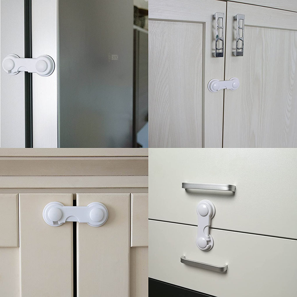 10PCS/Set Baby Safety Plastic Lock Catch Children Protection Refrigerator Latch Lock Clasp For Cabinet
