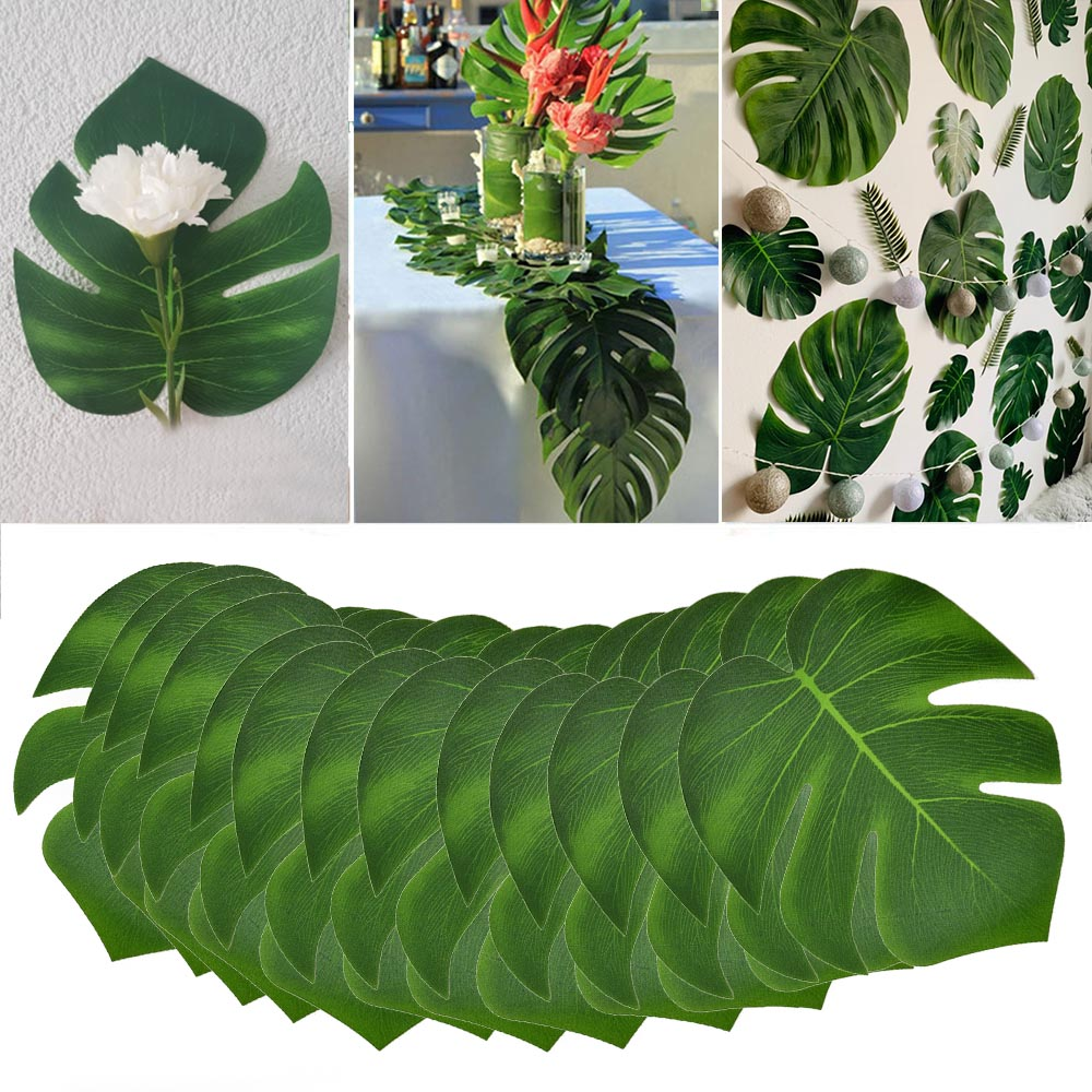 12Pcs/lot Fabric Artificial Monstera Leaves Tropical Palm Tree Leaves For Wedding Hawaiia Party Jungle Beach Theme Table Decor