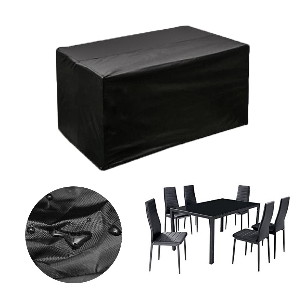 3 Sizes Waterproof Rectangular Outdoor Rattan Table Protection Dust Cover Canopy Supplies Black Garden Patio Furniture Cover