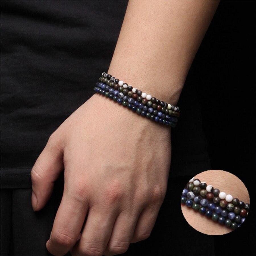 4mm Runde Natürliche lazuli Achate jaspers Amazonit Perlen armband männer frauen Trendy Einfachheit blau schwarz weiß armbänder schmuck