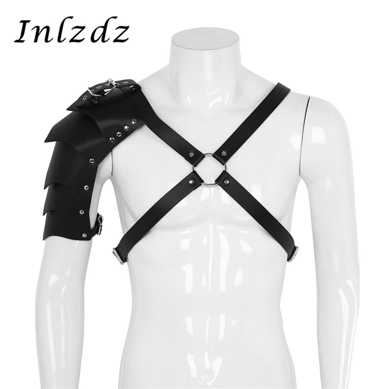 Mens Steampunk Leather Harness X-Shaped Adjustable Body Chest Harness With Shoulder Armors Buckles For Party Cosplay Halloween