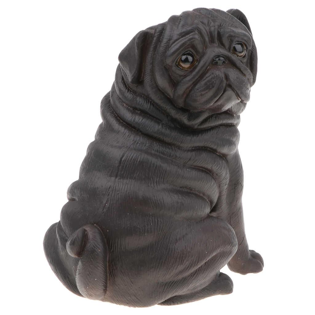 10.8cm כמו בחיים כלב דגם צלמיות ילדים מתנת צעצוע בית משרד דקור-שחור פאג