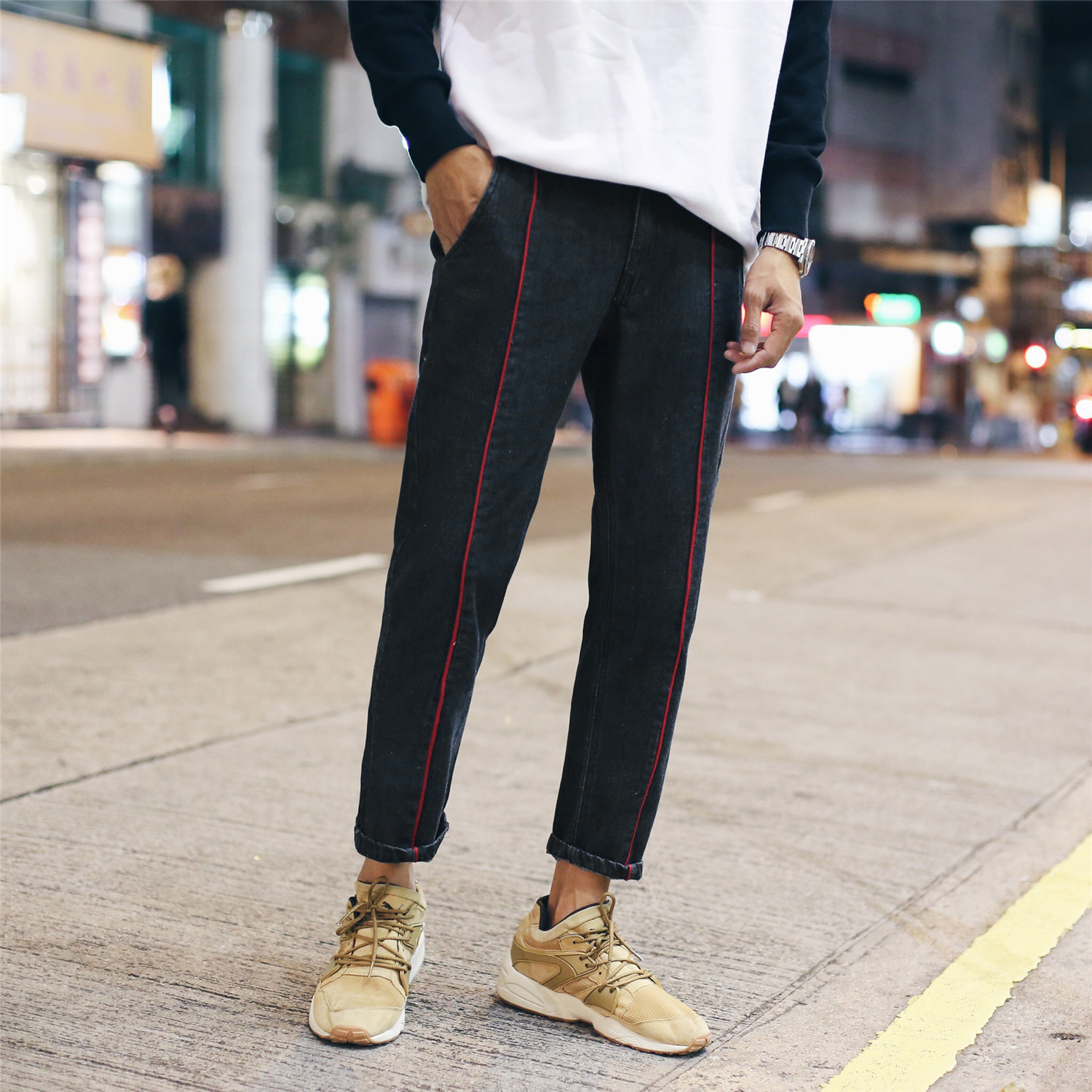 MEN'S Sports Pants Casual Pants Male STUDENT'S Loose-Fit Sweatpants Ankle Banded Pants Men's Teenager Loose-Fit Skinny Pants Spr