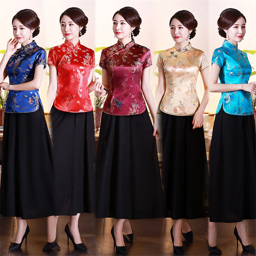 16Color Traditional Chinese Clothing For Women Top Satin Retro Short Sleeve Qipao Vintage Evening Cheongsam Dress Costumes S-4XL