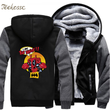 Super Hero Dealpool Hoodie Men I Am The Night Hooded Sweatshirt Funny Print Coat 2018 Winter Fleece Thick Deal Pool Jacket 5XL цена и фото