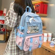 Waterproof Badge Ita Women Backpack Transparent Contrast Color College Gilrs Schoolbags Female Flap Multi-pocket Laptop Backpack
