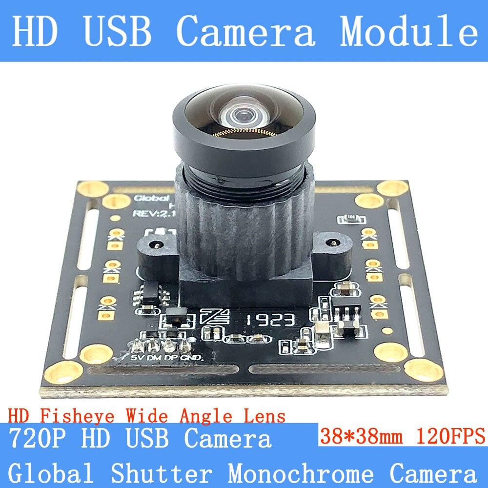 Wide Angle 150° 720P Global Shutter Monochrome 120FPS MJPEG USB Camera Module High Speed OTG UVC Linux Surveillance Webcam