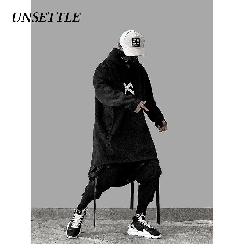 UNSETTLE japanese sweatshirt Mens Oversize Hoodies Long Cloak Hip Hop Gothic Outwear Streetwear Coat Harajuku Style Male Tops 2