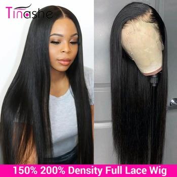 Tinshe saç tam sırma insan saçı peruk % 150 200 yoğunluk tutkalsız tam dantel peruk ön koparıp brezilyalı düz insan saçı peruk