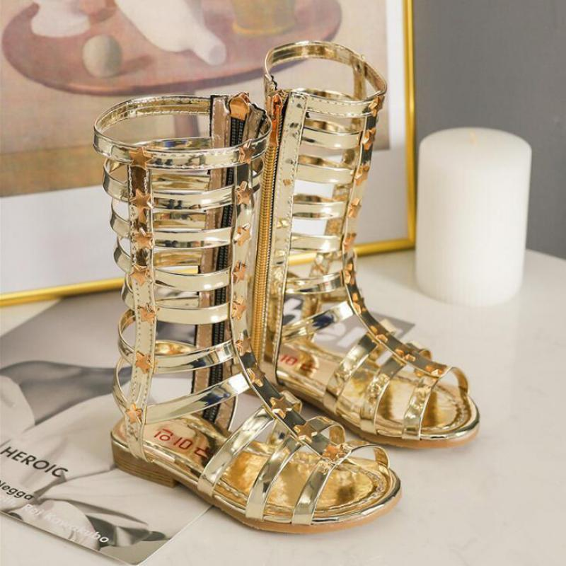 New Summer Child Sandals Roman Boots High-top Girls Sandals Kids Gladiator Sandals Hot Sale Toddler Girls Shoes A797