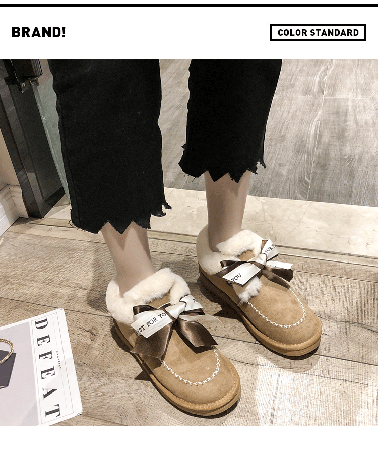 2019 Women Snow Boots Winter Ankle Boot Female Bow Warmer Plush Suede Rubber Flat Slip On Fashion Platform Ladies Shoes 33