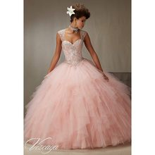 Blush Pink Tulle Ball Gown Quinceanera gown 2018 Sweetheart Beading Beaded Crystal Sweetheart mother of the bride dresses(China)