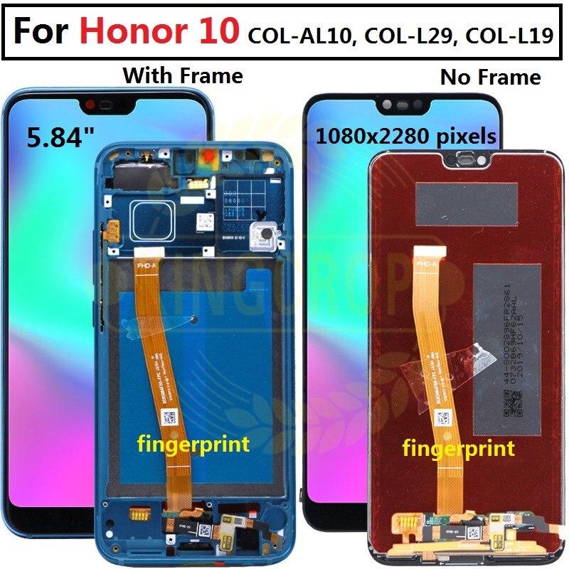 Para Honor 10 pantalla con marco para Huawei Honor 10 pantalla LCD Panel táctil con piezas de repuesto de ensamblaje de huellas dactilaresPantallas LCD para teléfonos móviles   -