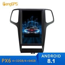 13,6 pulgadas 8,1 estilo Tesla Vertical radio de coche estéreo GPS para JEEP Grand cheroki 2010 2011-2013 navegación grabación de cinta multimedia