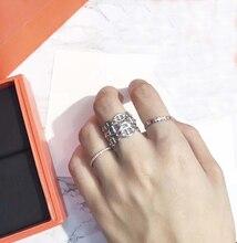 Pure 925 Sterling Zilveren Sieraden Voor Vrouwen Mannen Brief Ronde Lock Ringen Zilveren Ring Frankrijk Kwaliteit Steampunk Stijl