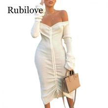 Rubilove Front Drawstring Sexy Bandage Dresses Women White Slash Neck Long Sleeve Club Party Dress Autumn Winter Off Shoulder Ma off shoulder drawstring waist plasuit