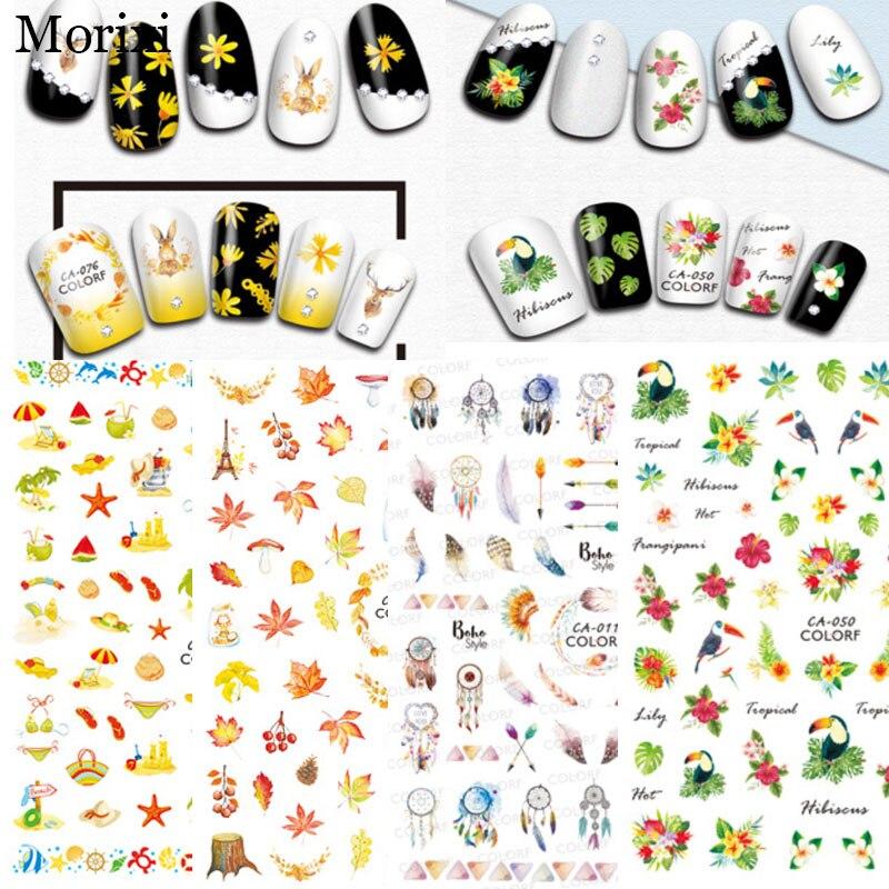 Купить наклейка для дизайна ногтей morixi сезон осень кленовые листья