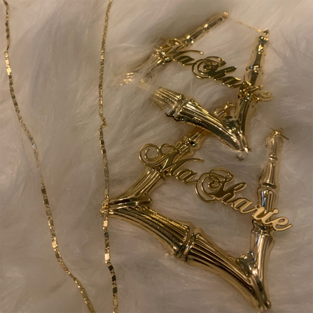 Купить golicc имя серьги изготовленные на заказ/в форме трапеции бамбук