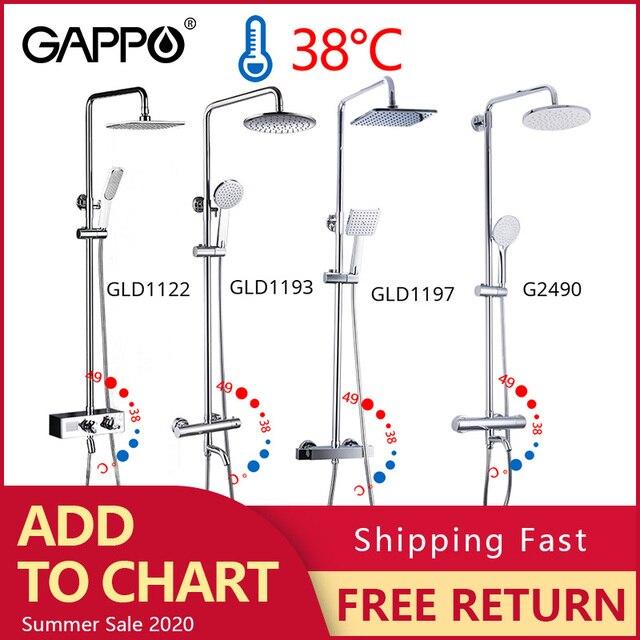 GAPPO robinet douche thermostatique chromé, mitigeur de bain, ensemble de mitigeur de douche de salle de bains, douche de pluie cascade