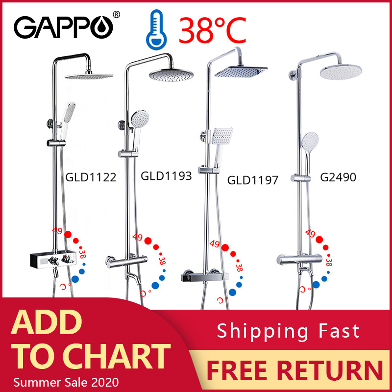 GAPPO thermostatic shower faucet chrome color bathroom bath shower mixer set waterfall rain shower head bathtub faucet taps(China)
