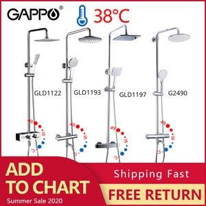 Image 1 - GAPPO thermostatic shower faucet chrome color bathroom bath shower mixer set waterfall rain shower head bathtub faucet taps