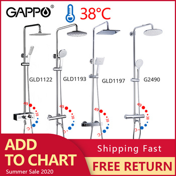 GAPPO thermostatic shower faucet chrome color bathroom bath shower mixer set waterfall rain shower head bathtub faucet taps modern bathroom waterfall bathtub faucet set deck mount 5 holes mixer taps tub mixer taps chrome finish