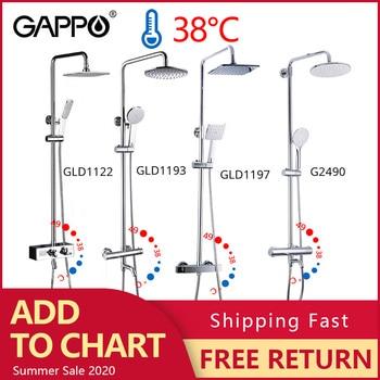цена на GAPPO thermostatic shower faucet chrome color bathroom bath shower mixer set waterfall rain shower head bathtub faucet taps