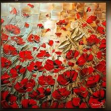 Ручная роспись Красный Poppy палитра нож плотная текстура картины цветов маслом современное произведение искусства картина Canvass Vinicor Art