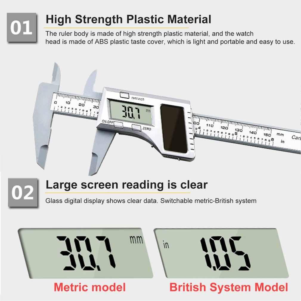 0-150MM énergie solaire électronique précision numérique Vernier étriers règle pachymètre micromètre outils de mesure jauge