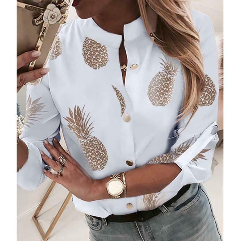 Women Fashion Crew Neck Long Sleeve Office Lady Summer Blouse Shirt Women Pineapple Floral Casual Shirts Top