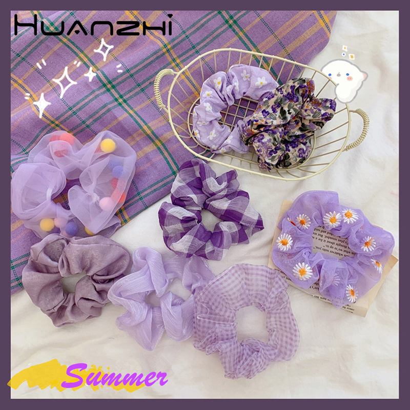 HZ Korean Purple Lattice Flower Embroidery Daisy Colourful Plush Ball Yarn Elastic Hair Bands Summer Hair Accessories For Women
