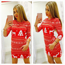 Women Autumn Winter Clothes Christmas Party Bodycon Casual Ladies Mini Dress Rou