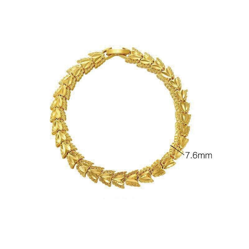 Mxgxفام (18.4 سنتيمتر x 7.6 مللي متر) منحوتة الزهور سوار ساعة مجوهرات للنساء الرجال تصاميم جديدة 24 كيلو الذهب الخالص اللون الحساسية الحرة