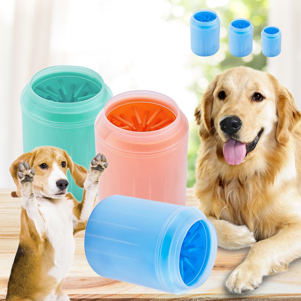Silicone font b Pet b font Dog Foot Clean Cup Dogs Cats Soft Washing Brush Paw