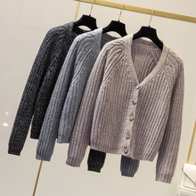Fashion Solid Cardigan Long Sleeve Knitted Sweater Women Open Stitch Casual Sweters Invierno 2019 Loose Mujer
