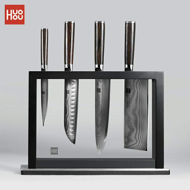 Набор ножей из дамасской стали Huohou, 5 шт./компл., домашний кухонный нож из нержавеющей стали, прочный нож из прочной композитной стали с ручкой из твердой древесины Кухонные ножи      АлиЭкспресс