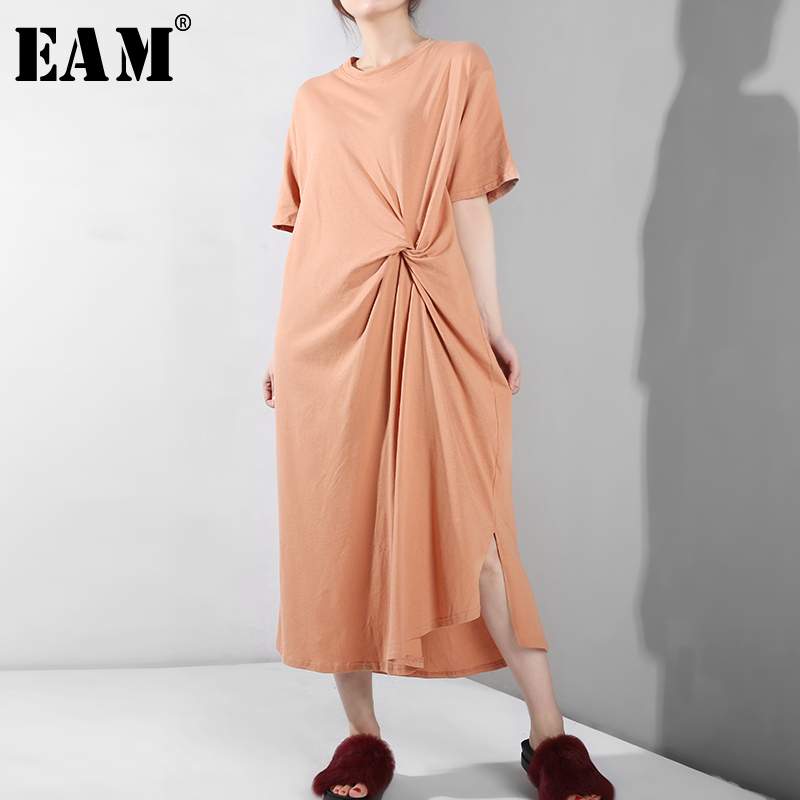 [EAM] 2020 New Spring Summer Round Neck Short Sleeve Orange Waist Knot Stitch Long Temperament Dress Women Fashion Tide S20