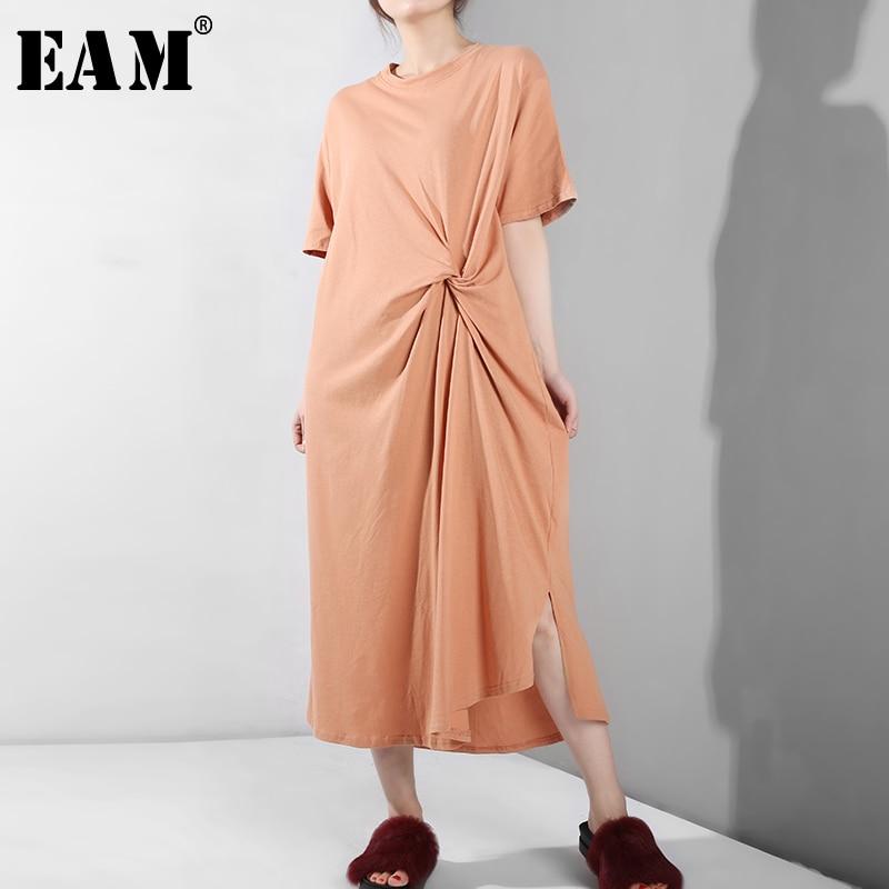 [EAM] 2020 New Spring Summer Round Neck Short Sleeve Orange Waist Knot Stitch Long Temperament Dress Women Fashion Tide S20