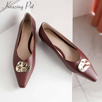 Krazing pot brand fashion genuine leather ladies shoes metal decorations small square toe slip on loafers women dating pumps L70