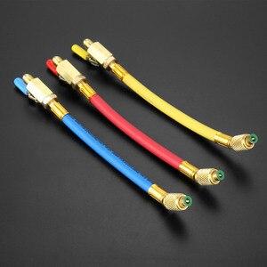 """Image 2 - 9.8 """"1/4"""" SAE R134A R410a mosiądz AC czynnik chłodniczy HVAC AC węże do ładowania z kulowymi zaworami odcinającymi 250mm 600Psi"""