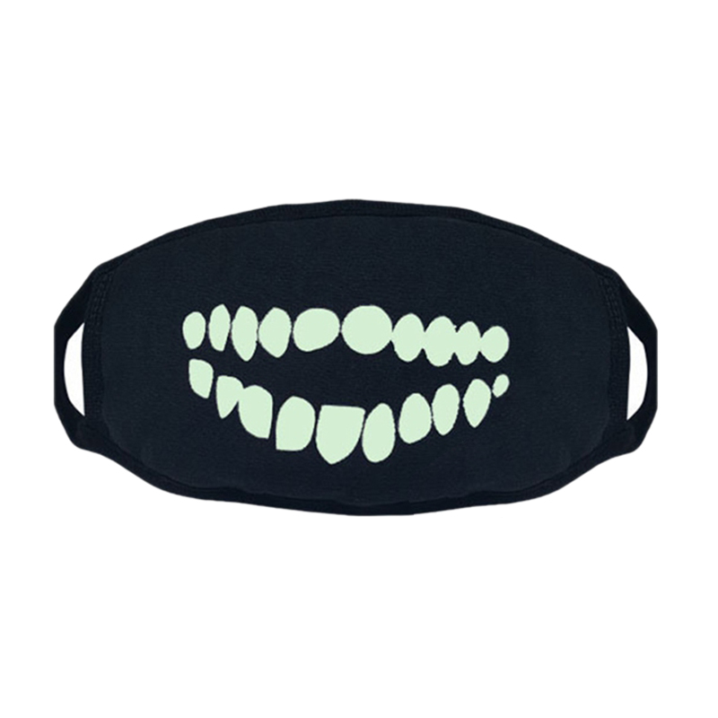3Pcs Black Luminous Mask Green Light Party Mask Cotton Dust Mask Night Riding Mask Halloween Funny Decoration