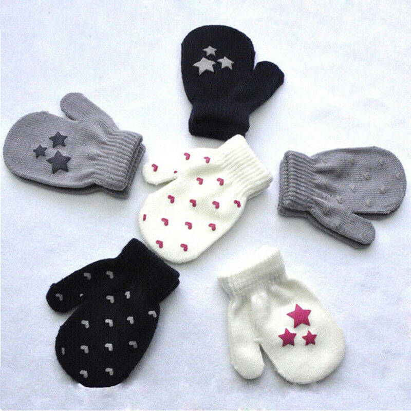 Cute Knitting Gloves Kids Boys Girls Autumn Winter Warm Gloves Print Toddler Full Finger Glove