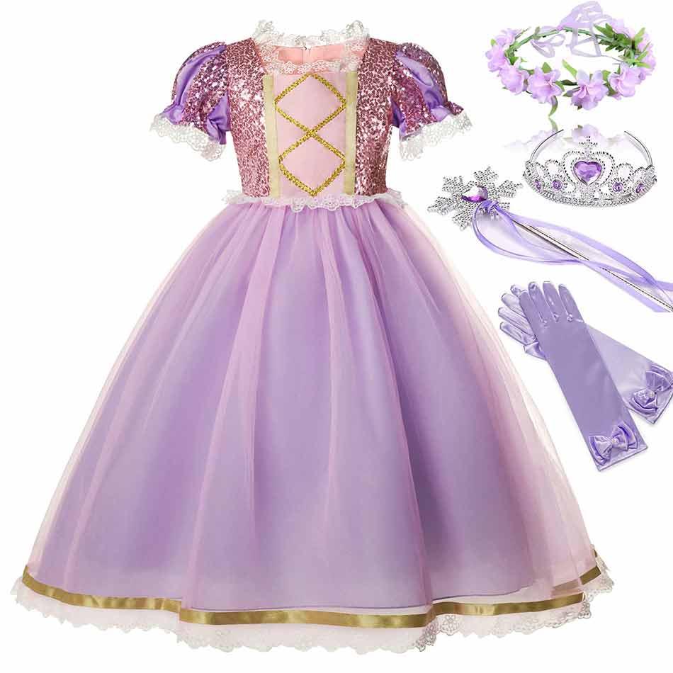 Disney Film Tangled Prinzessin Rapunzel Kostüm für Mädchen Kurzarm Pailletten Mesh Ballkleid Kid Exquisite Rapunzel Party Kleid