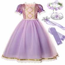 Disney фильм парик, принцесса Рапунцель, костюм для девочек, футболка с короткими рукавами с кружевами и блестками, бальное платье, детское изы...