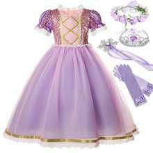 Disney filme emaranhado princesa rapunzel traje para meninas manga curta lantejoulas malha bola vestido criança requintado rapunzel vestido de festa