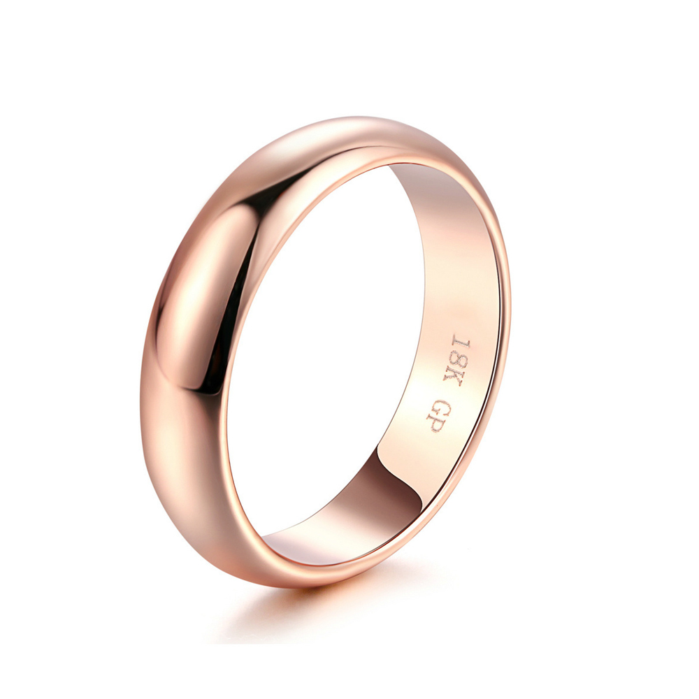 Simple Unisex Real 18K Rose Gold 925 Sterling Silver Ring Wedding Engagement Rings For Men Women Couples Bride Ring Fine Jewelry