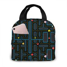 NOISYDESIGNS Womens Lunch Bags Pacman Retro Video Game Print Thermal Cooler Insulated Tote Bag Customized Bolsa