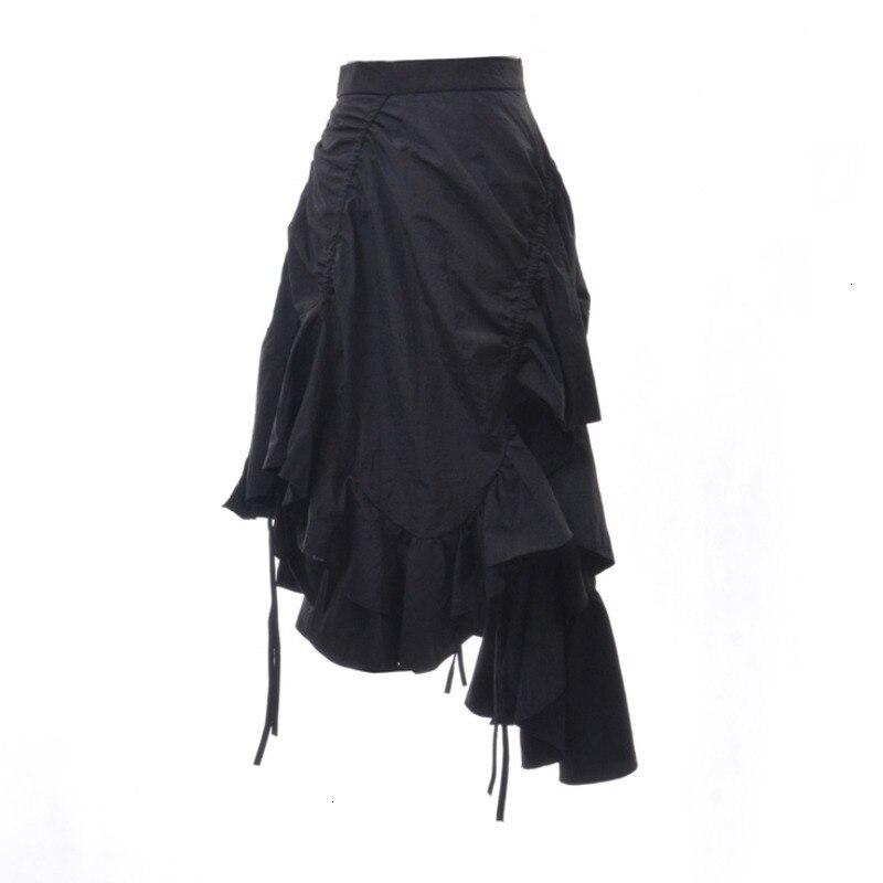 TVVOVVIN Noir Fermeture À Glissière Taille Haute Pli Irrégulier À Volants Femme Jupe En Queue De Poisson décontracté Sauvage Simple Mode 2019 Automne Nouveau X013